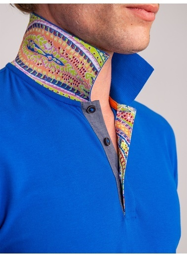 Dufy Yaka Içı Detayli Merserıze Pamuk Polo Yaka Erkek T-Shirt - Slim Fit Saks